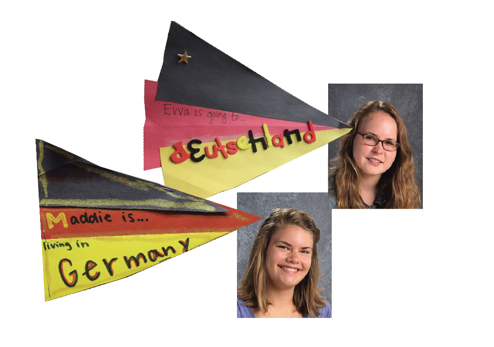 """Seniors Evva Parsons and Maddie Flom-Staab will be traveling to Germany this summer to spend the year abroad with the Congress-Bundestag Youth Exchange (CBYX).  """"It's a big intense application process with interviews and all that jazz. It was like another college application."""" Flom-Staab said."""