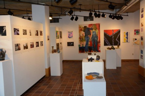 Students from midde and upper school display their work in winter art show