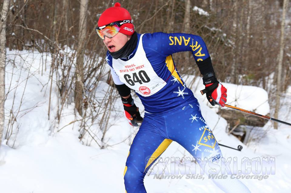 """Freshman Peter Moore on his way to getting  44th place in the Nordic state meet. """"The state meet was an amazing experience, I was racing against all the top guys from all over the state in really close quarters,"""" Moore said."""