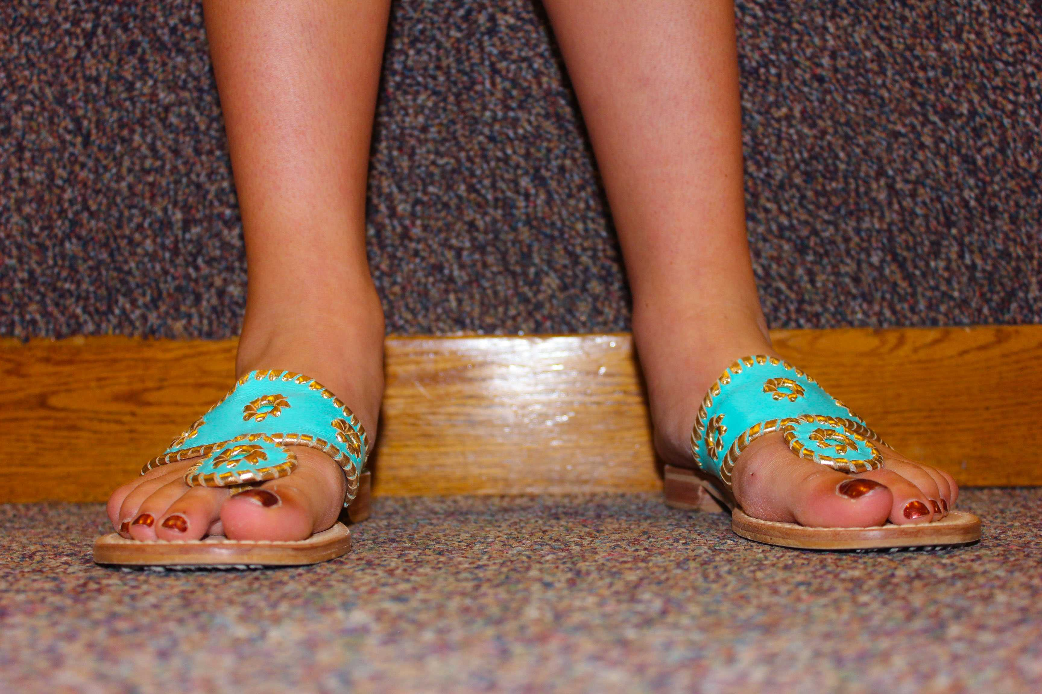 Senior Kathryn Schmechel's bright shoes warrant a close up.