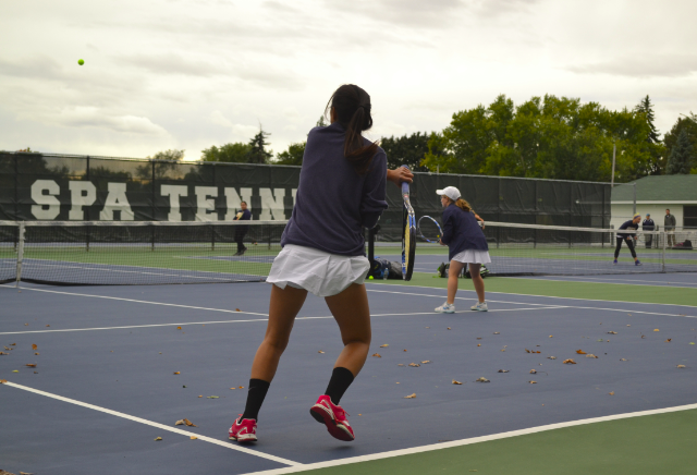 Senior+JinJin+Roen+and+Sophomore+Lily+Nestor+play+doubles+against+Breck+on+Sept.+27.