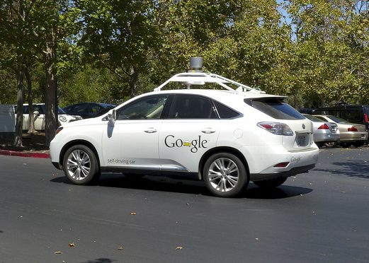 Google's self-driving cars use LiDAR, one of many types of distance sensors currently under development for self-driving cars. Google's car is not yet commercially available.