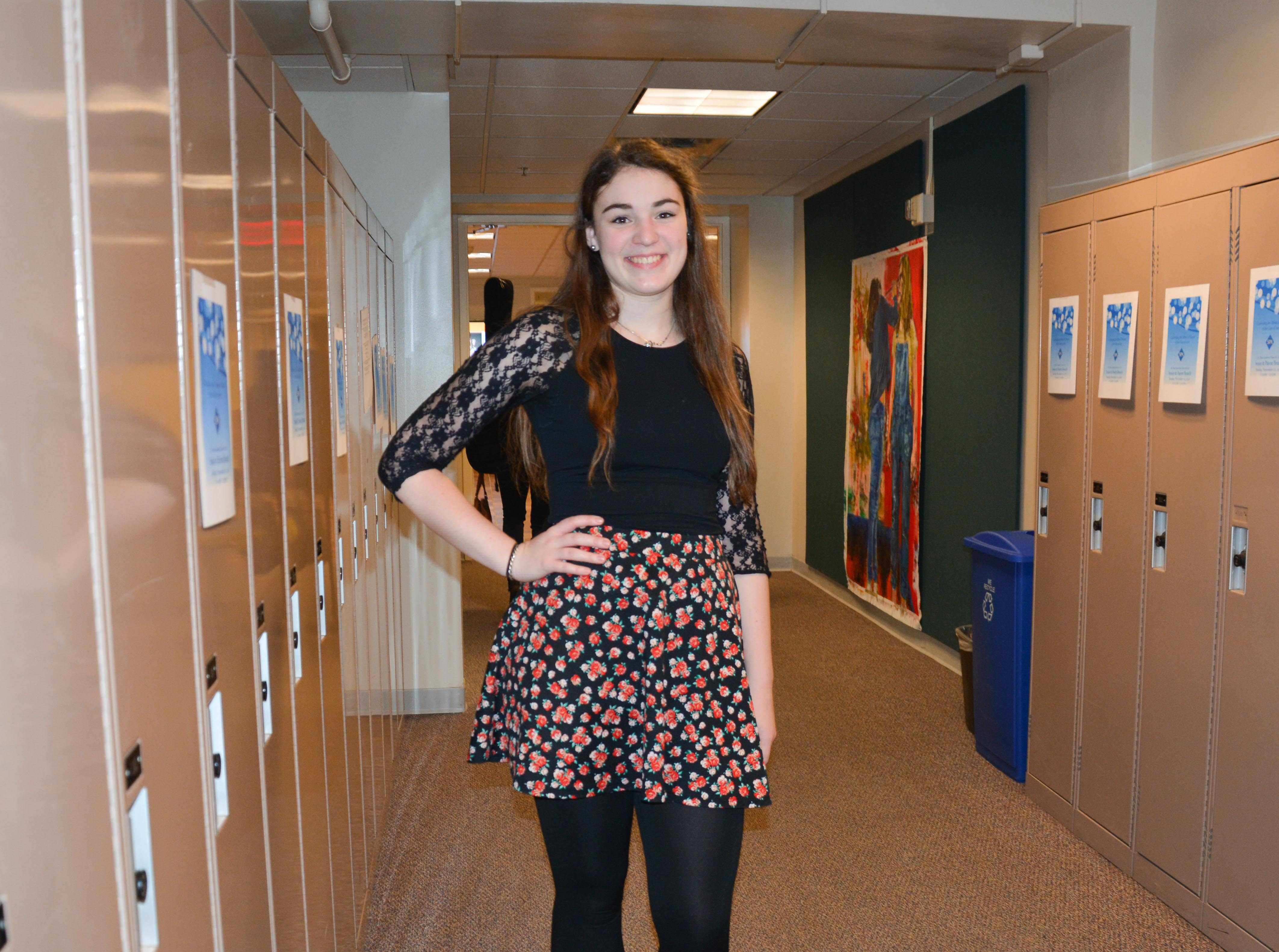 Senior Mary Grant selected her outfit she wore to her Senior Speech with care.