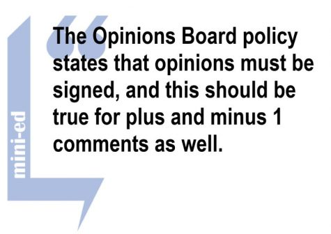 Opinion Board should feature only signed opinions