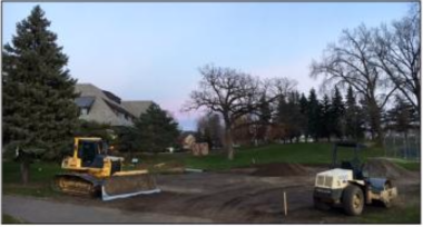 Construction begins on the new portable classrooms by athletic fields.