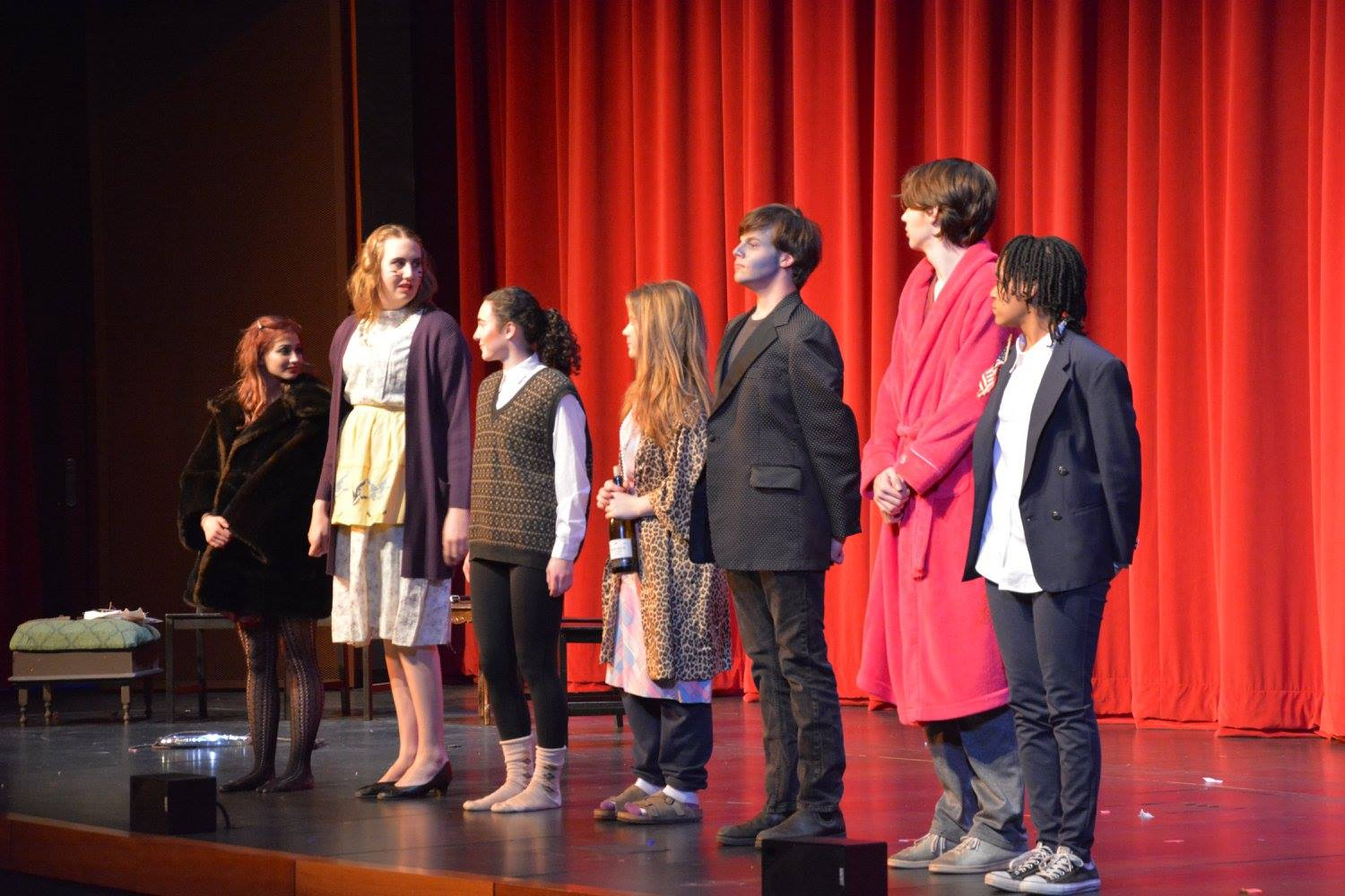 The+One+Acts+held+on+Jan.+28+in+the+Huss+Center+highlight+student+acting+and+student+directing.+%28From+left+to+right%29+senior+Leah+Hughes%2C+junior+J.J.+Gisselquist%2C+junior+Stephanie+Frisch%2C+junior+Ellie+Findell%2C+senior+Ivan+Gunther%2C+senior+Paul+Watkins+and+sophomore+Rachael+Johnson+perform+a+student+written+play.+