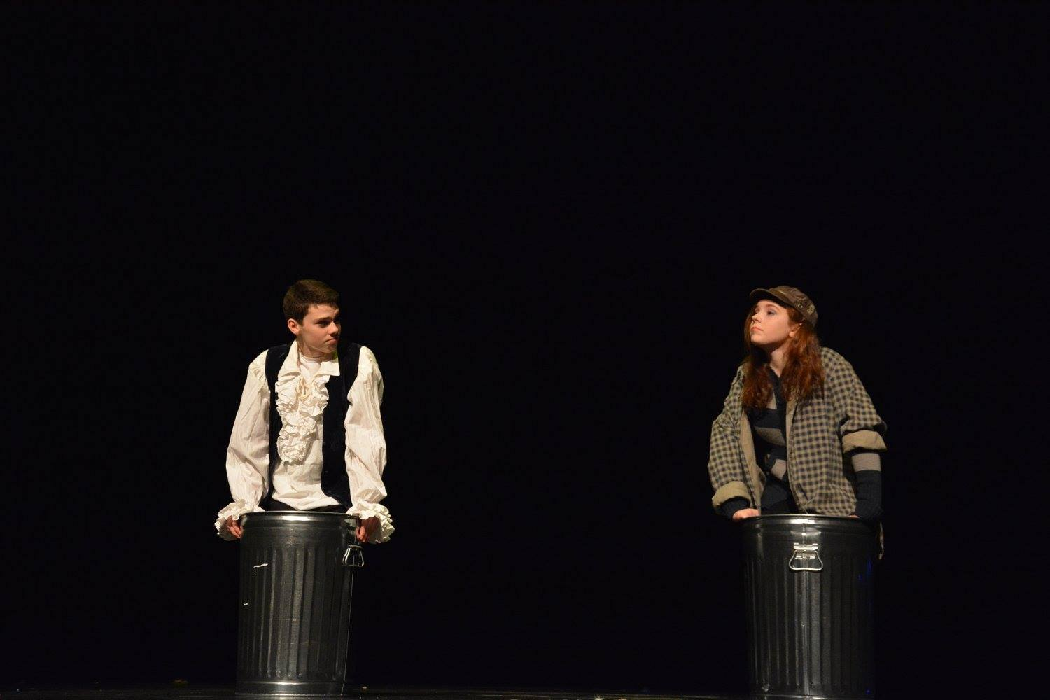 Sophomore+Chloe+Morse+and+9th+grader+Vliestra+performing+in+the+One+Acts+on+Jan.+27.