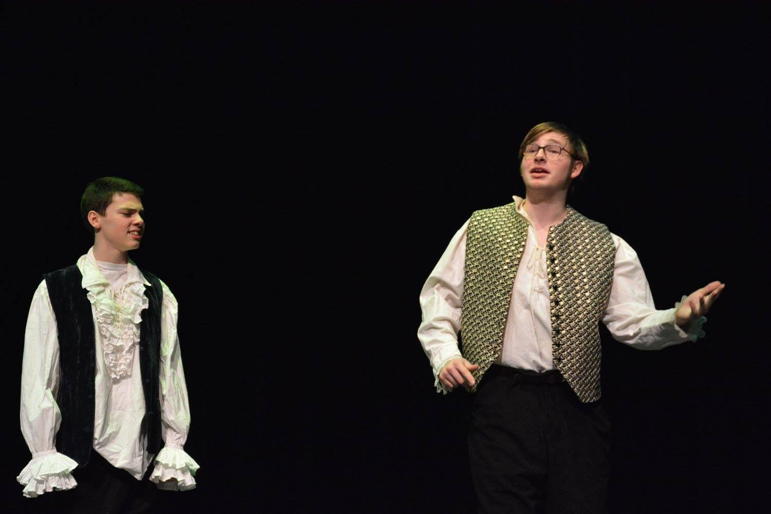 9th+grader+Henry+Vliestra+and+senior+Bailey+Troth+perform+in+the+Shakespearean+spoof+One+Act+on+Jan.+27.