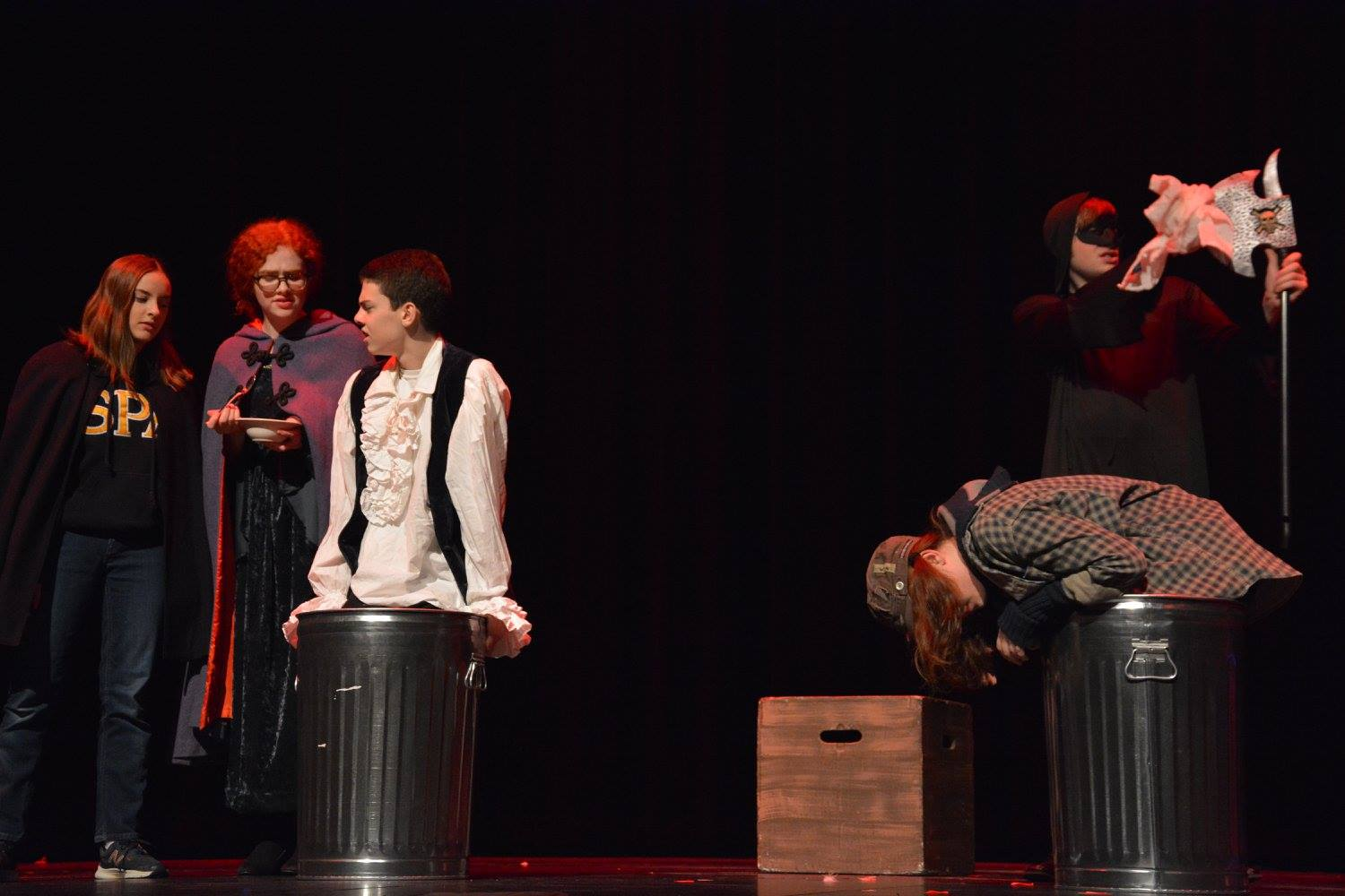 Junior+Tess+Hick%2C+junior+Lillian+Pettigrew%2C+9th+grader+Henry+Vliestra%2C+sophomore+Chloe+Morse+and+senior+Bailey+Troth+perform+in+the+Shakespeare+inspired+One+Act+on+Jan.+27.