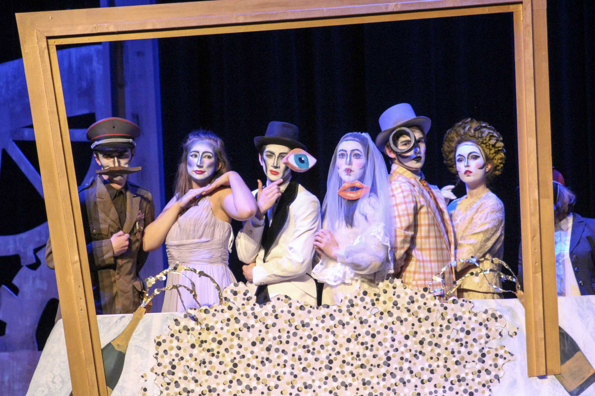 The+Winter+One+Acts+highlight+student+directing+and+acting+on+the+Huss+stage+on+Jan.+27.+%28From+left+to+right%29+sophomore+Max+Moen%2C+junior+Sylvie+Schifsky%2C+junior+Drew+Fawcett%2C+junior+Maya+Shrestha%2C+junior+Jonah+Harrison+and+sophomore+Elise+Parsons+perform.+