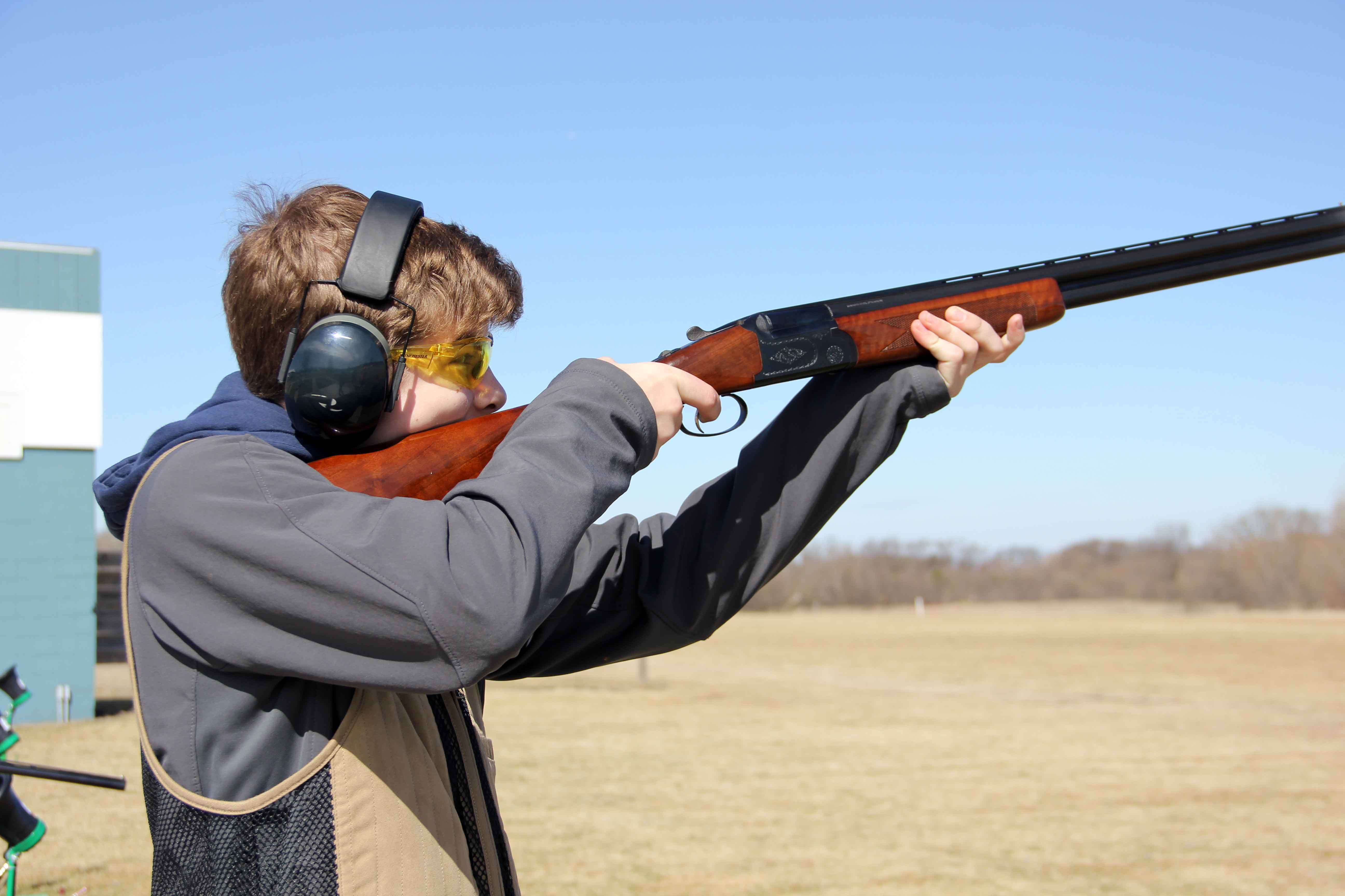 Junior Nolan Gifford shoots his gun for trap, the Remington bankruptcy filing puts the future of this sport in question.