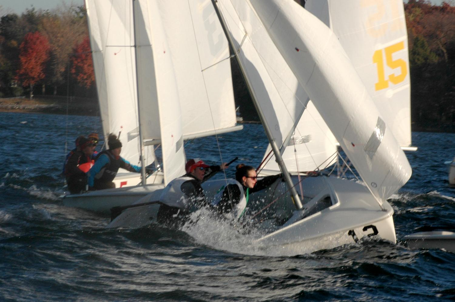 Senior Jack Indritz sails at a regatta in a two-person boat.