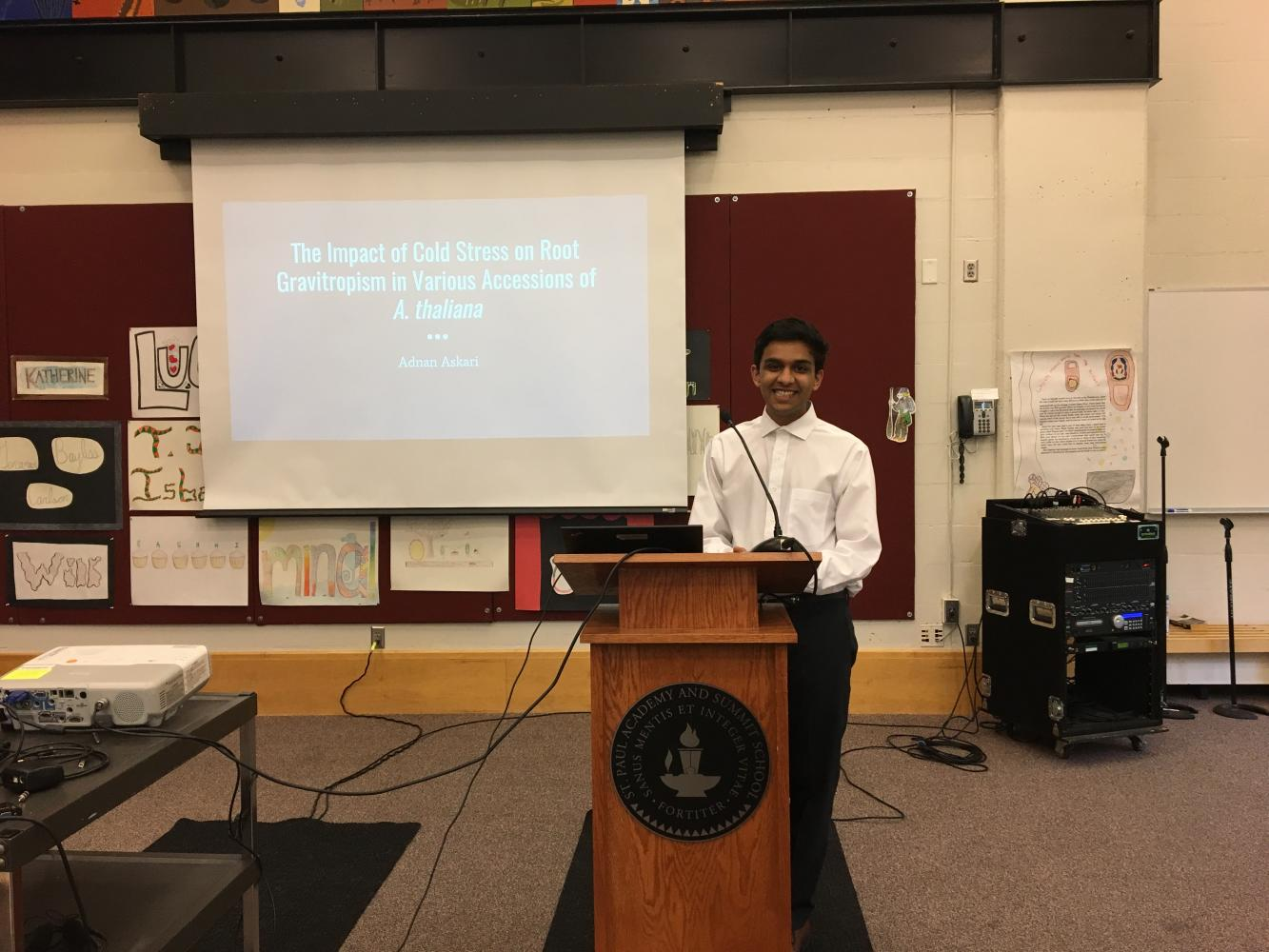 Junior Adnan Askari was the first presenter of the night. His research revealed important results for how farmers can extend their growing seasons.