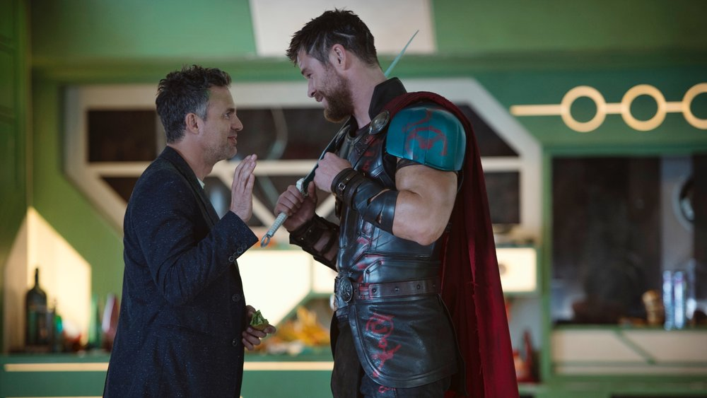 Thor+and+Bruce+Banner+lead+the+colorful+cast+of+Ragnarok.+