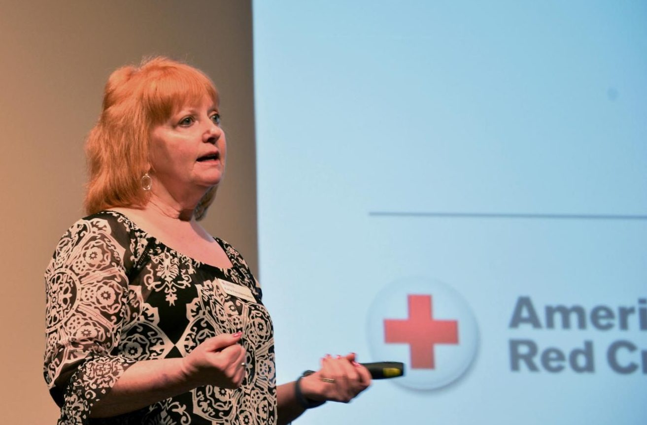 Blood Drive speaker Karla Fenstermaker spoke to students Tuesday morning in The Huss Center about donating blood