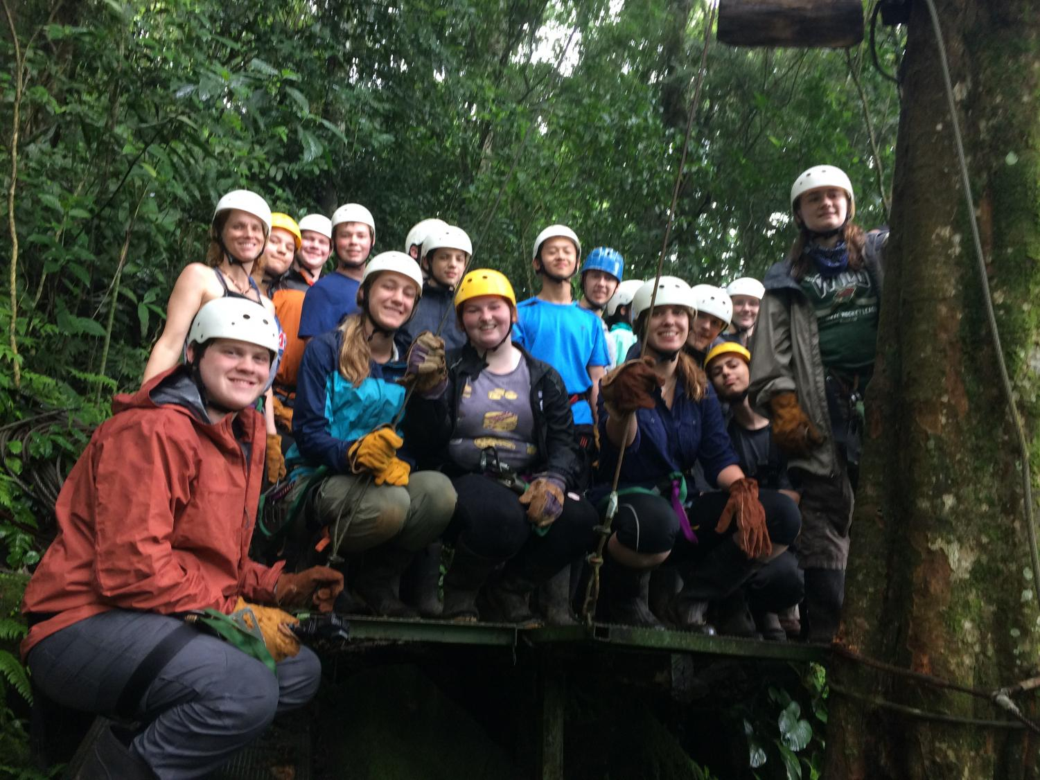 Seibel-Hunt zip-lines with US students on a Costa Rica trip.