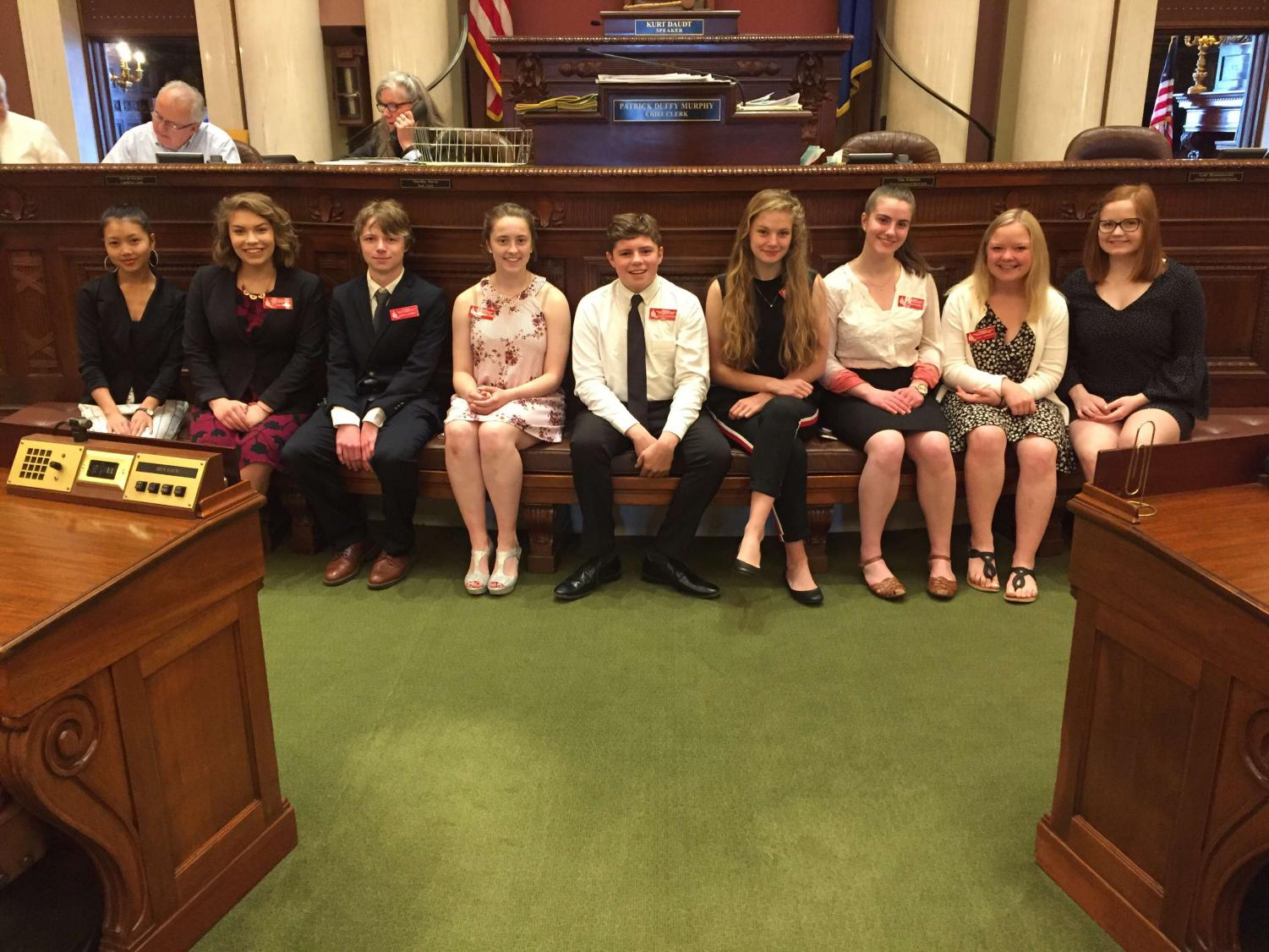Junior Kaia Larsen posed with the other students who were part of the week long MN page program.