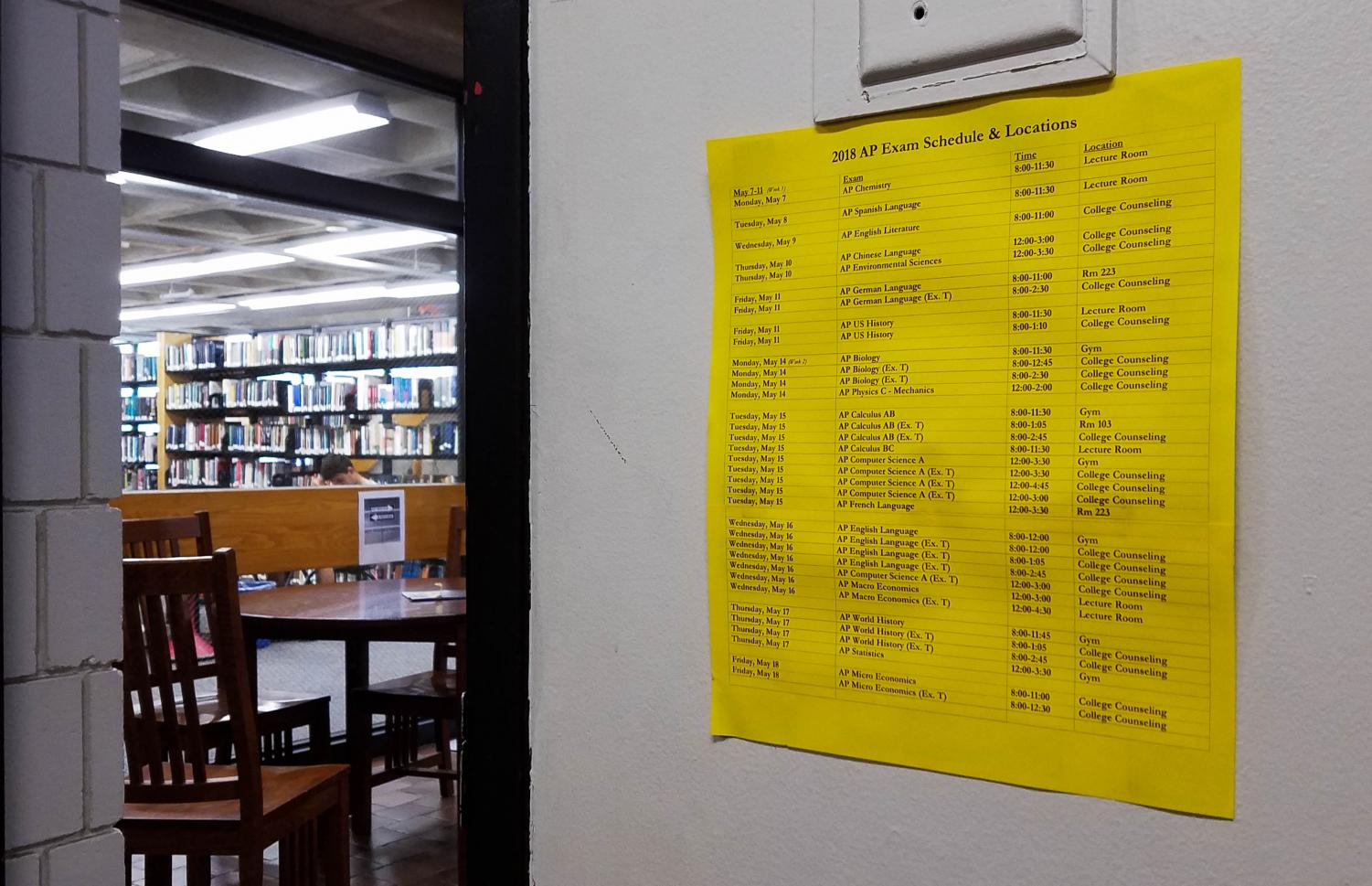 Schedules like these can be seen all over the Upper School describing where the exams will take place.