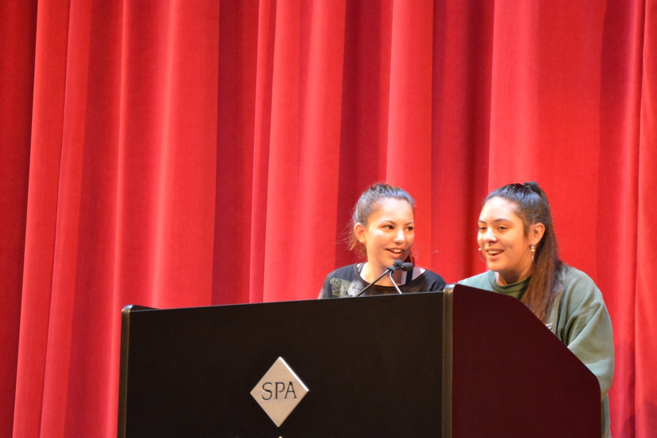 Sophomores Karla Garcia and Tana Ososki introduce the songs played at each Blue & Gold Assembly.