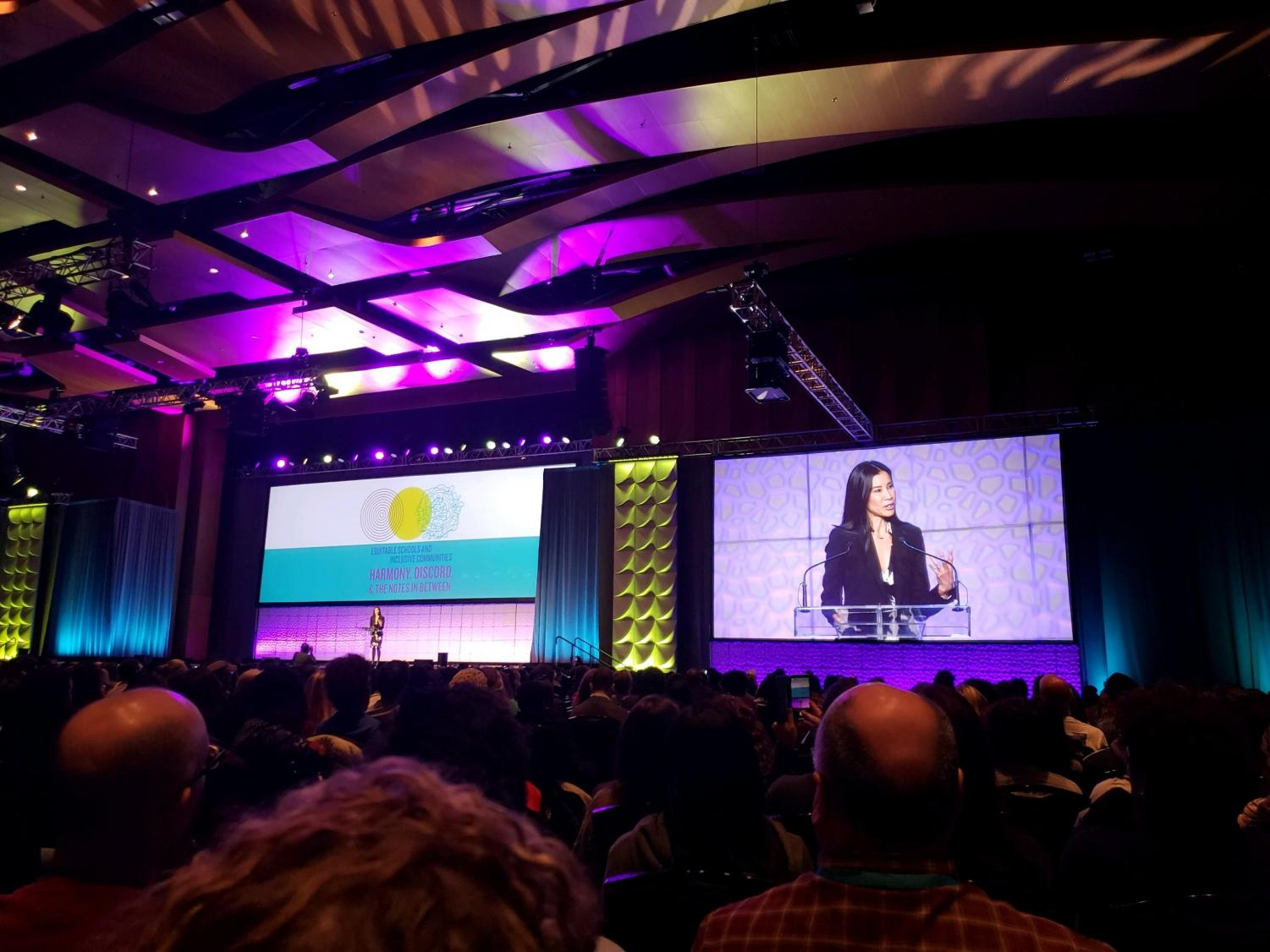 Journalist Lisa Ling speaks to the conference of students.