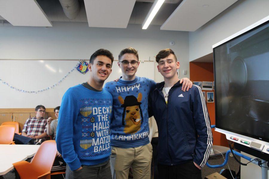 Seniors+Ethan+Less%2C+Shane+Litman+and+%0AReuben+Vizelman+wear+Hanukkah-themes+sweaters.