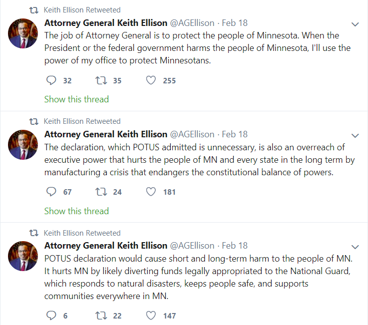 On+Feb+18%2C+Keith+Ellison+sent+out+a+series+of+tweets%2C+alerting+that+he+would+be+fighting+the+Trump+administration+for+Minnesota.+
