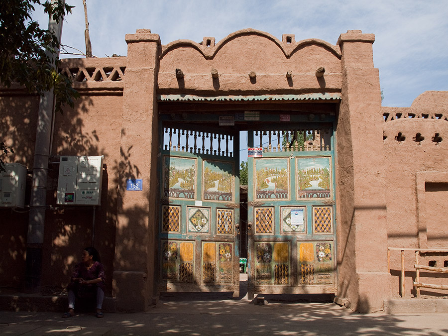Image of Uyghur gates in Shanshan, Xinjaing. Xinjaing It is home to a number of ethnic groups, including the Uyghur, Han, Kazakhs, Tibetans, Hui, Tajiks, Kyrgyz, Mongols and Russians.