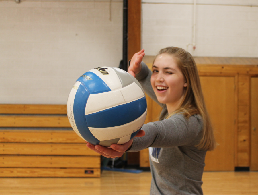 Junior+Sydney+Therien+winks+every+time+she+serves+in+volleyball+as+a+special+good+luck+charm.