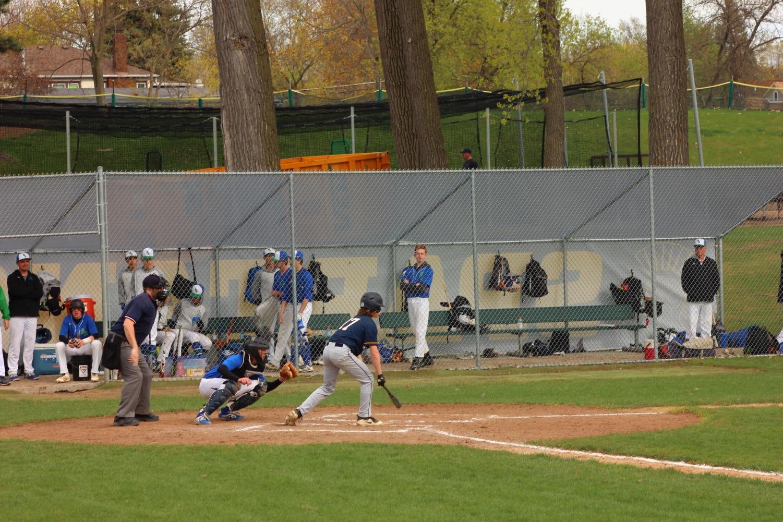 Ninth grader Judah Thomas steps up to bat.