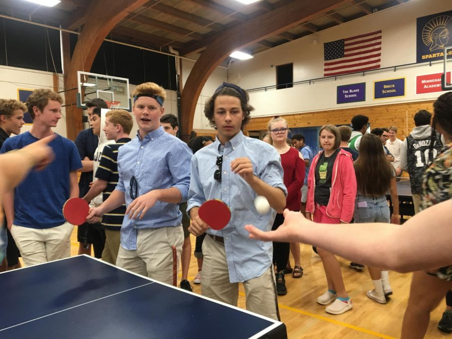 Juniors+Tommy+Stolpestad+and+Duncan+Fleming+are+all+business+in+the+ping+pong+tournament.+%22We+are+here+to+win+the+ping+pong+competition+and+our+outfits+represents+that.+We+are+here+to+win%2C+we+better+win%2C+if+we+don%27t+win+I+do+not+know+what+will+happen%2C%22+Fleming+said.