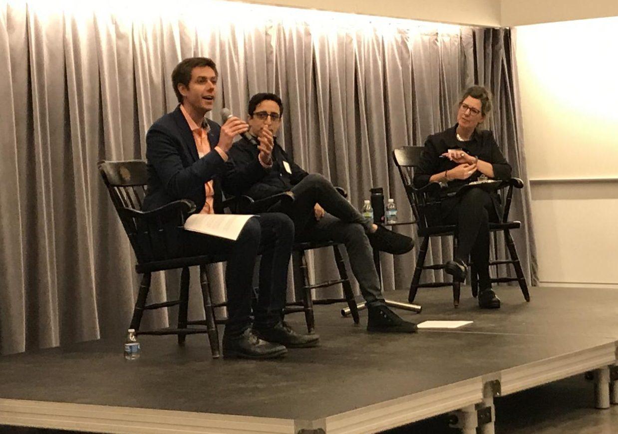 Alumni speakers Jory Schwach and Tyler Olson, with moderator Sasha Aslanian, speak on their experience as entrepreneurs.