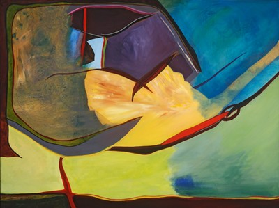 Rhys Conlon's colorful, abstract work arrives next at the Drake Gallery