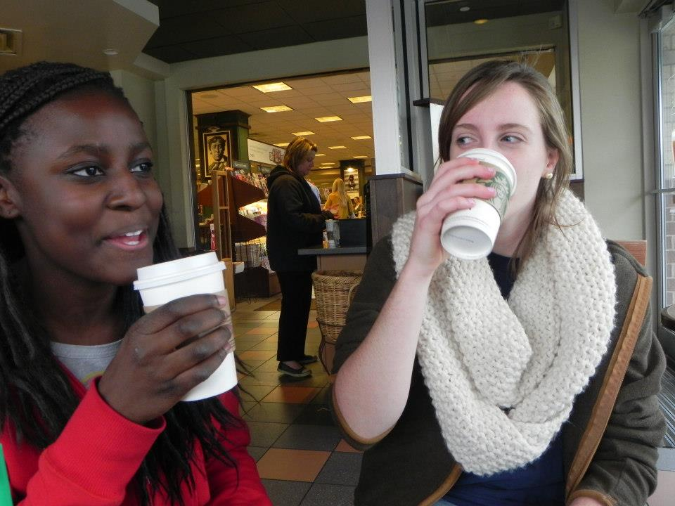 """Juniors Isabelle Johnson and Mary Merrill enjoy Starbuck's newest seasonal drink, the Pumpkin Spice Latte. """"Pumpkin Spice becomes our most popular flavor once we get it,"""" Starbucks barsita Anja Witek said."""