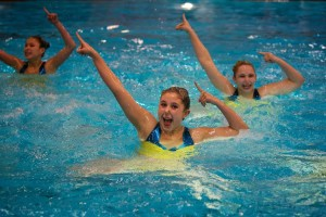 St. Paul Academy and Summit School junior Anna Matenaer performs in a trio at a recent synchronized swimming meet.