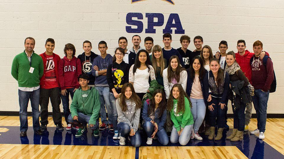 """Spanish exchange students pose for a group photo. """"My favorite things that I have done [in Minnesota] are shopping in Albertville and Mall of America and staying with Neerja's family,"""