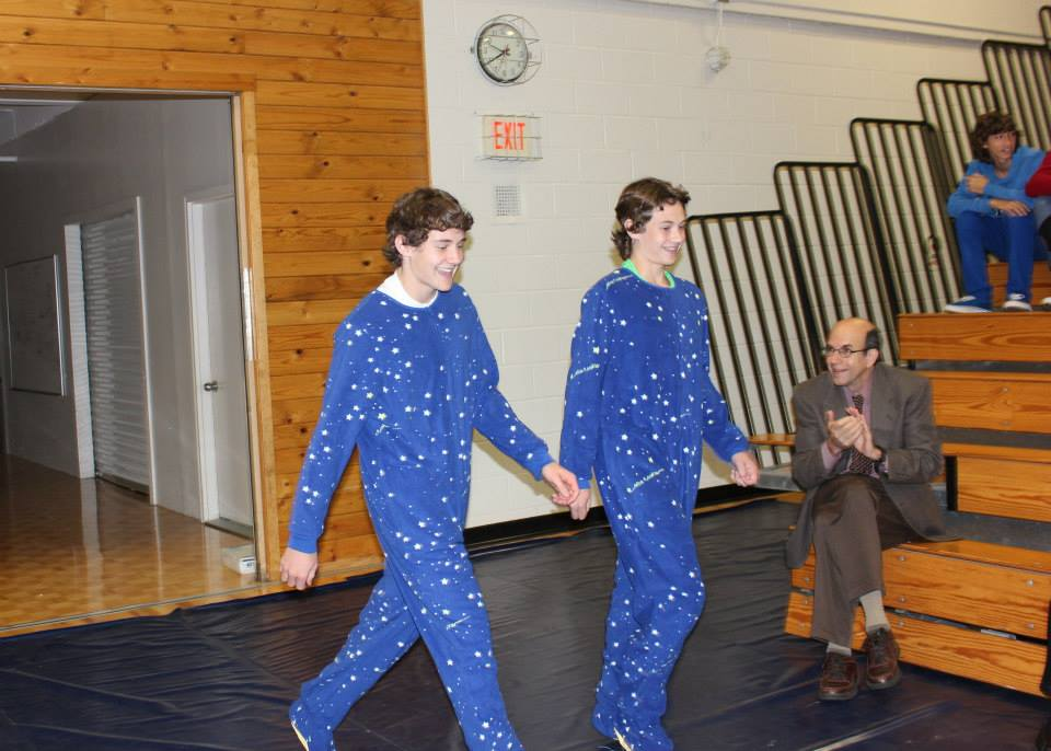 Senior Mick Sullivan and freshman Jack Sullivan model Twin Day.