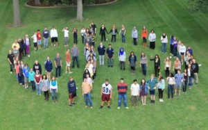 """Today Upper School students created a human peace sign on the front lawn. Intercultural Club member junior Afsar Sandozi said that the activity was """"good, efficient, and cooperative."""""""