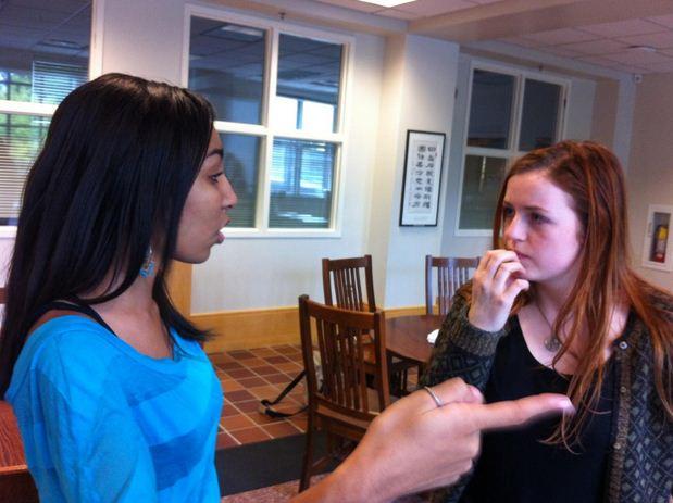 Juniors Mansuda Arora  and Sonja Mischke discuss the logistics of twerking.