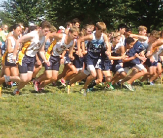 """From left: Senior captains Alicia Zhang, Charlie Rosenblum, and Charlie Southwick begin their race at Bassett Creek Park on Sept. 7. """"We have some really big races, and we're looking forward to seeing how we do as a team. We have been making really good progress,"""" junior captain Mike Destache said."""