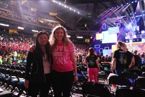 Sophomores Emily Olson and Vanessa Miller pose for a picture at We Day Minnesota.