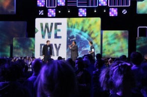 We Day speakers included Martin Luther King III, here in the center next to the co-founders of We Day, Craig and Marc Kielburger.