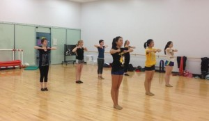 """The Upper School Girls Dance team, led by senior captains Jessica Wen and Cynthia Zheng, practices for the season. """"We're going to try to build a bigger team this year,"""" sophomore Calla Saunders said."""
