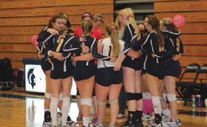 """The volleyball team huddles before the Dig Pink game on Oct. 8 against Providence Academy. """"We played really well. I think we played together as a team,"""" senior  defensive specialist Alex Miller said. This was the volleyball program's second annual Dig Pink night."""