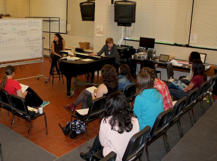 "Upper School Choral Activities teacher Anne Klus teaches the Music Seminar class. ""Each student brings their own expertise and musical insight into the class,"" Klus said."