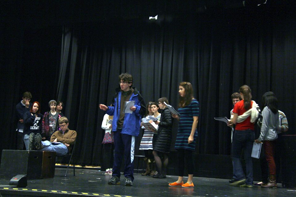The cast of the Caucasian Chalk Circle rehearses in the Sarah Converse Auditorium.