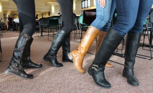 Sophomores Lexi Bottern, Lexi Hilton, Gita Raman, and Navodhya Samarakoon all wore riding boots over leggings or jeans.