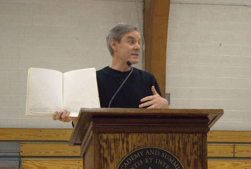 Book Fest keynote speaker John Coy discusses the publication process.