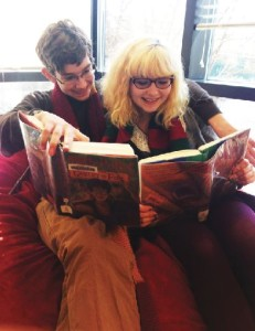 """Freshmen Andrew Michel and Phoebe Pannier enjoy the Harry Potter book series in the Upper School Library. """"I don't think [Fantastic Beasts and Where to Find Them] will be as good as the other movies, but anything that J.K Rowling is writing will be great,"""" Pannier said. """"Commercially, I think the movie will be a success since lots of people will go to the premeire. It will be beautiful. """""""