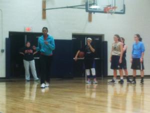 Women's National Basketball Association player Tayler Hill visits Girls Varsity Basketball team