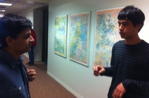 Seniors Steven Go-Rosenberg (right) and Bilal Askari (left) discuss immigration.